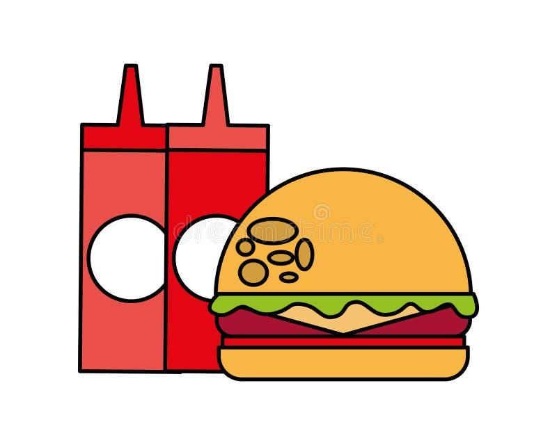 Hamburger en flessen de picknick van het sausenvoedsel royalty-vrije illustratie