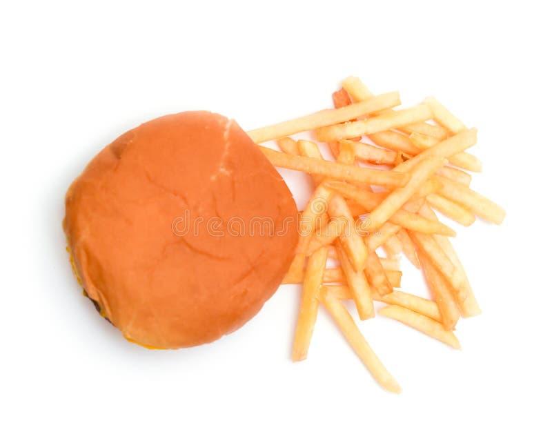 Hamburger et fritures d'isolement dans en haut photo libre de droits