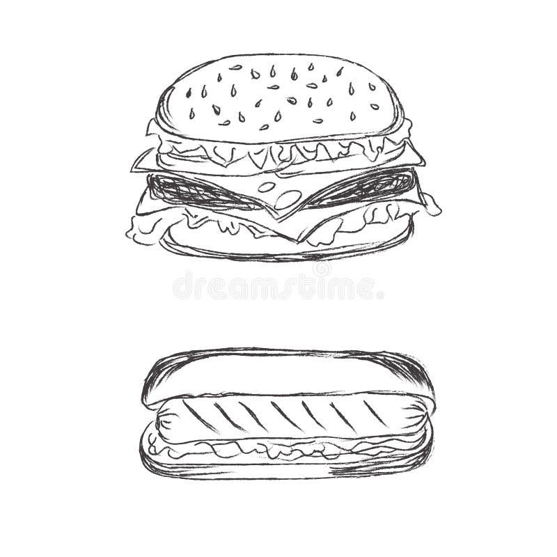 Hamburger et hot-dog dans le style de croquis sur le fond blanc illustration stock