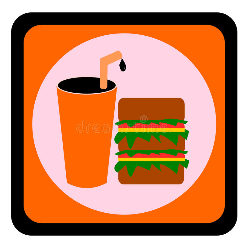 Hamburger et kola, symbole de nourriture et de boissons illustration stock