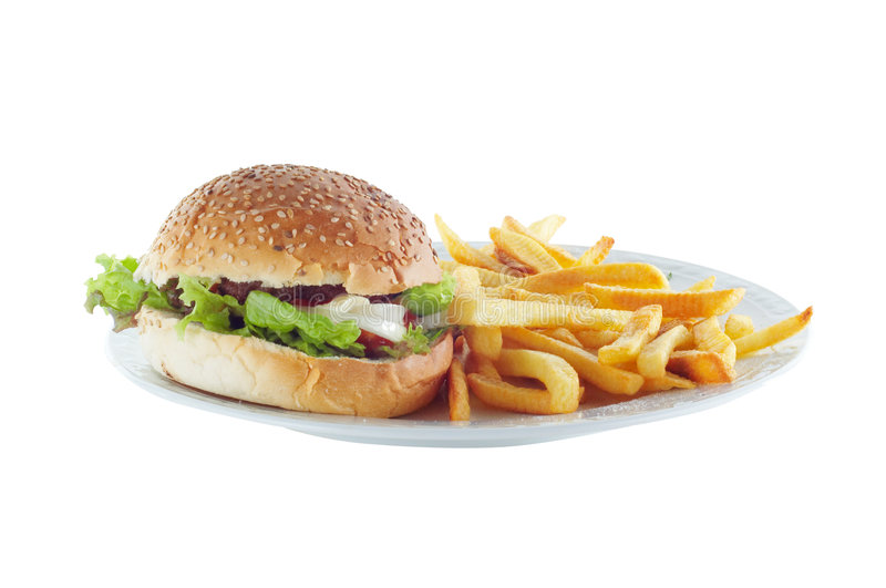 Hamburger et pommes frites image stock