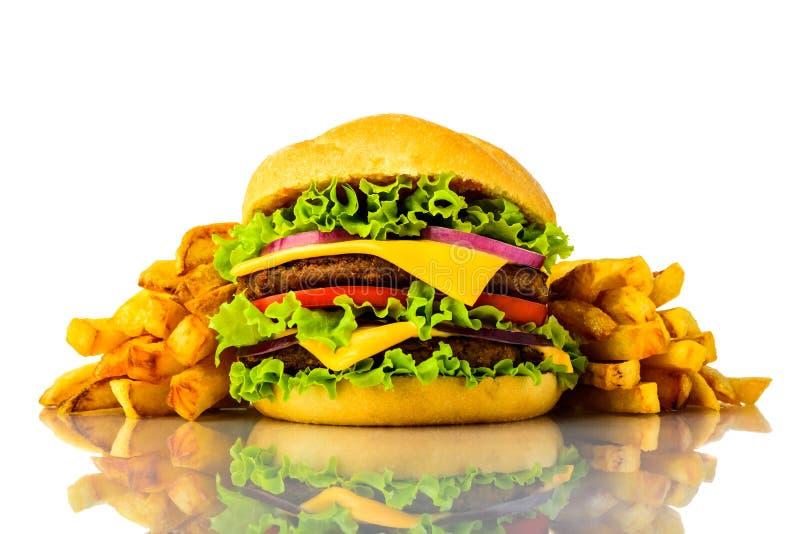 Hamburger et pommes frites images libres de droits