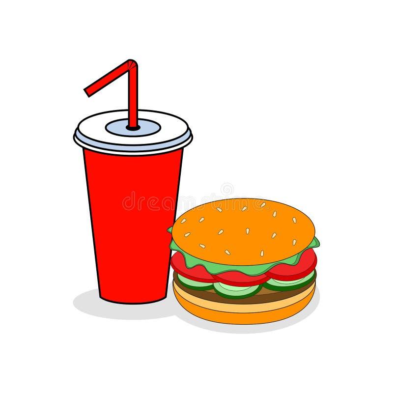 Hamburger et soude d'isolement sur le fond Hamburger avec de la viande et fromage, salade et kola Prêt-à-manger, gros repas d'ord illustration libre de droits
