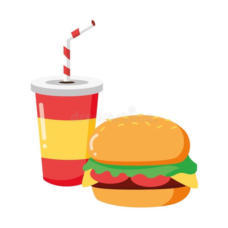 Hamburger et soude illustration libre de droits