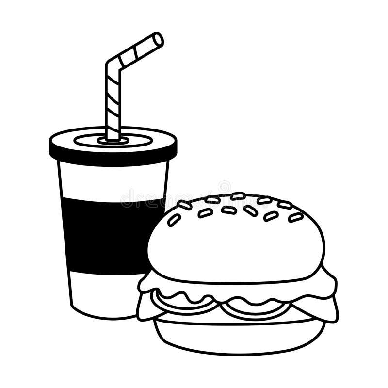 Hamburger et soude illustration de vecteur