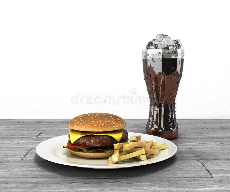 Hamburger et un verre de kola avec de la glace sur le spac gratuit de table en bois illustration de vecteur