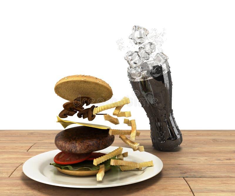 Hamburger et un verre de kola avec de la glace sur le spac gratuit de table en bois illustration stock