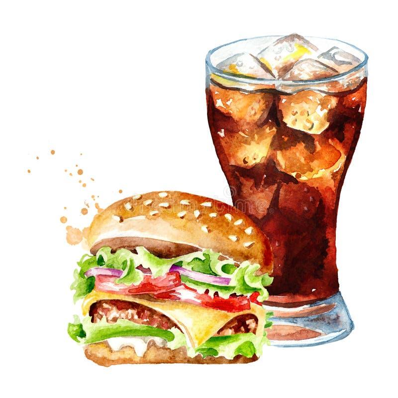 Hamburger et verre de kola Concept d'aliments de pr?paration rapide Illustration tir?e par la main d'aquarelle, d'isolement sur l illustration stock