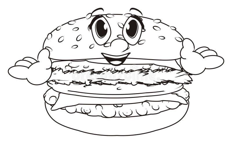 Hamburger felice di coloritura royalty illustrazione gratis