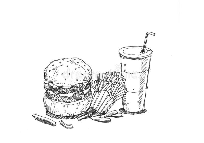 Hamburger fires and soda set hand illustration. Hamburger fires and soda set hand drawing illustration vector illustration