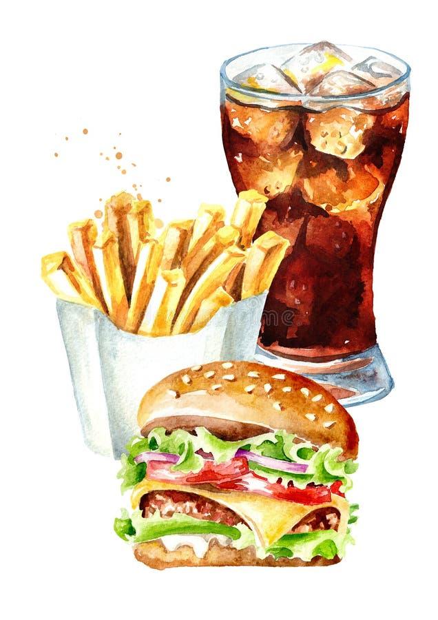 Hamburger, francuska d?oniaka kija grula i szk?o kola, Fasta food poj?cie akwareli r?ka rysuj?ca ilustracja, odizolowywaj?ca na b ilustracji