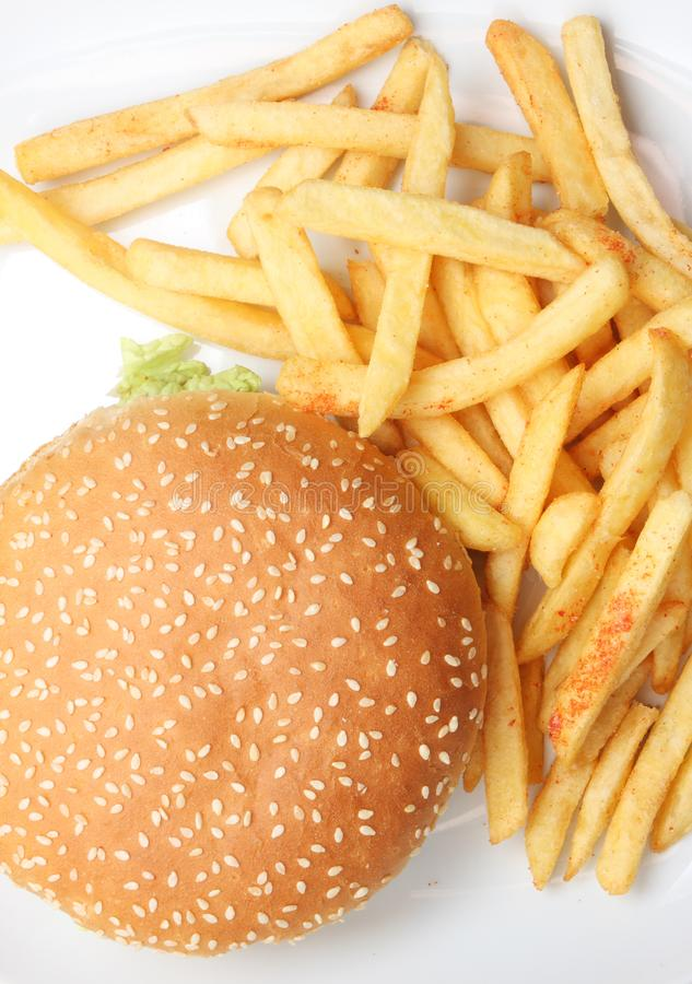 Hamburger with french fries stock photos