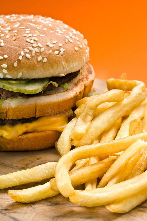 Hamburger and French Fries Closeup royalty free stock photography