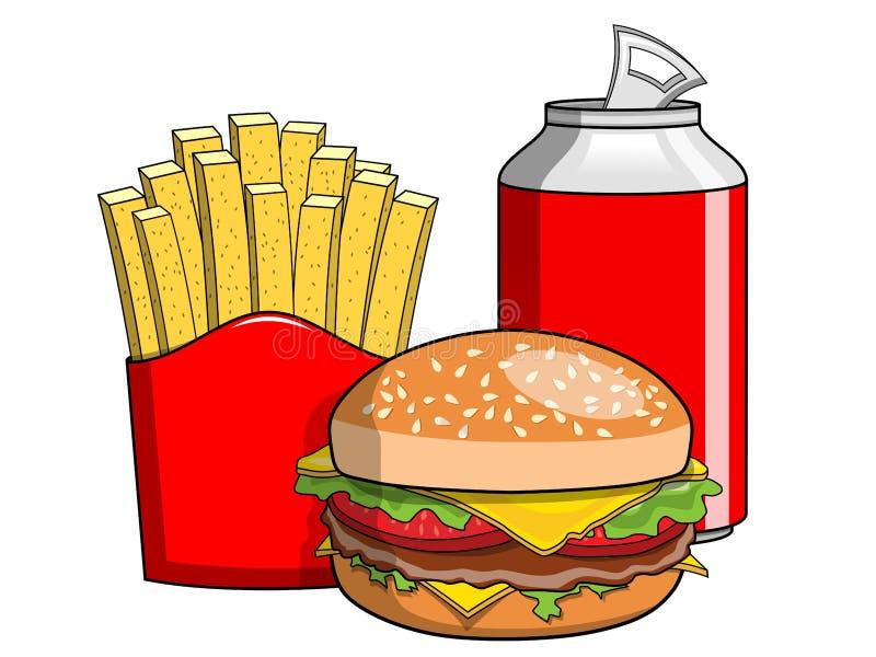 Hamburger french fries coke can isolated stock illustration