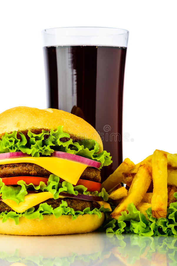 Hamburger, french fries and cola royalty free stock photos