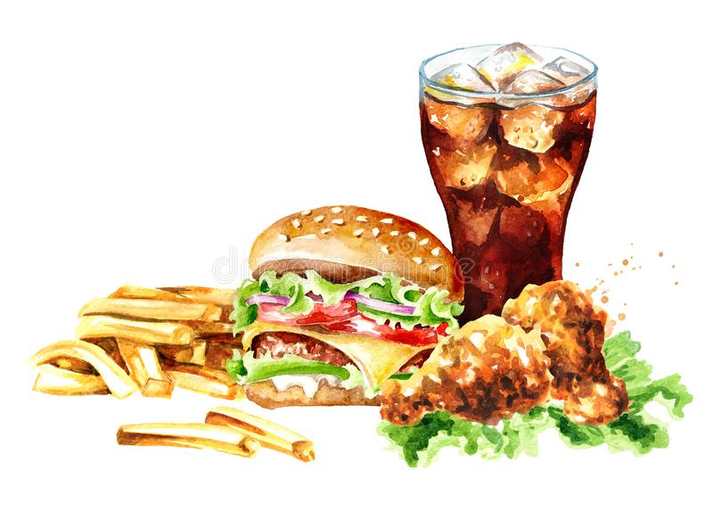 Hamburger, french fry stick potato, crispy fried chiken and glass of cola. Fast food concept. Watercolor hand drawn illustration,. Isolated on white background vector illustration