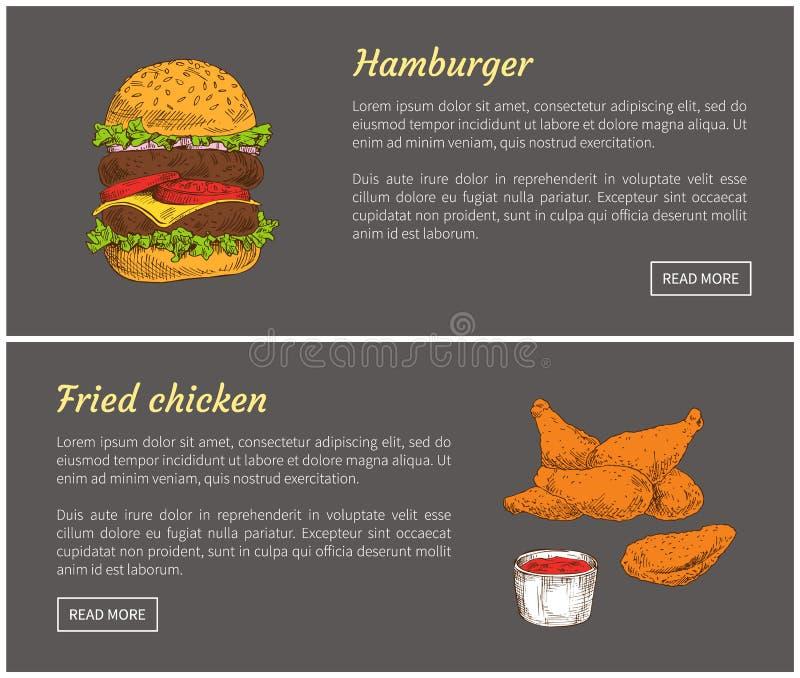 Hamburger Fried Chicken Set Vector Illustration royalty free illustration