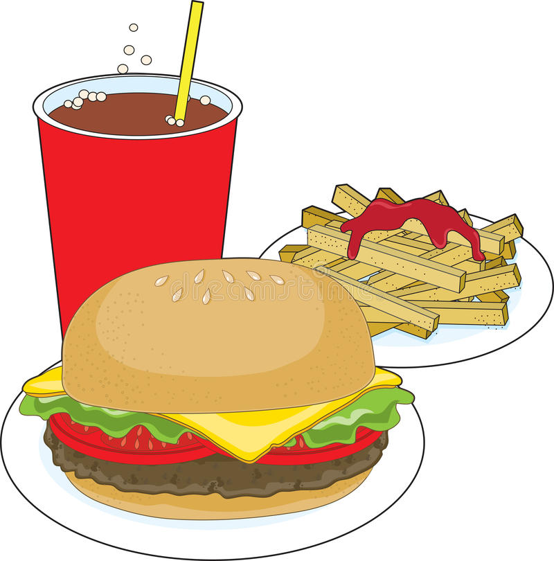 Download Hamburger and Fries stock vector. Image of clip, beverage - 19015259
