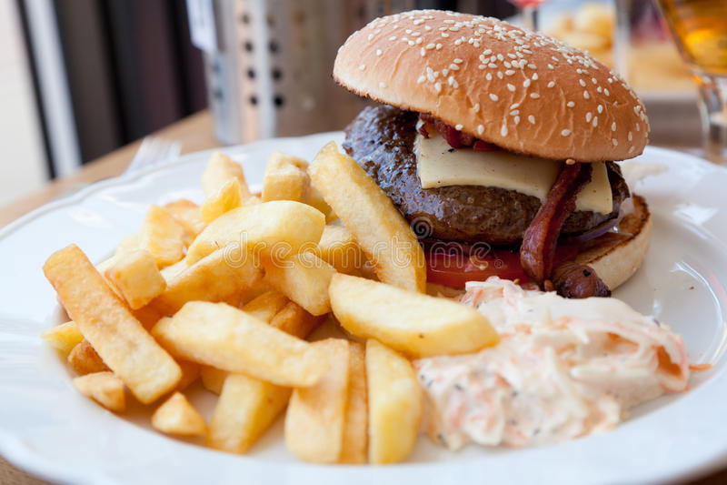 Download Hamburger and fries stock photo. Image of meat, burger - 20386300