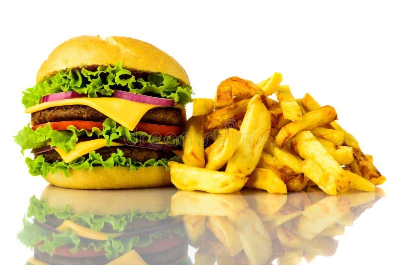 Hamburger and fries stock photography