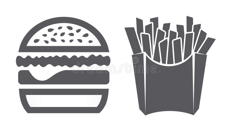 Hamburger and fries icons royalty free illustration