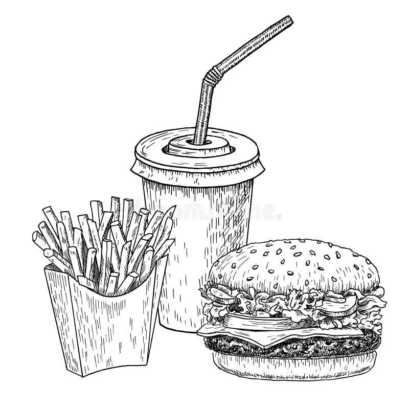 Hamburger, frieten en kolahand getrokken vectorillustratie Snel voedsel gegraveerde stijl Hamburgerschets die op wit wordt geïsol vector illustratie