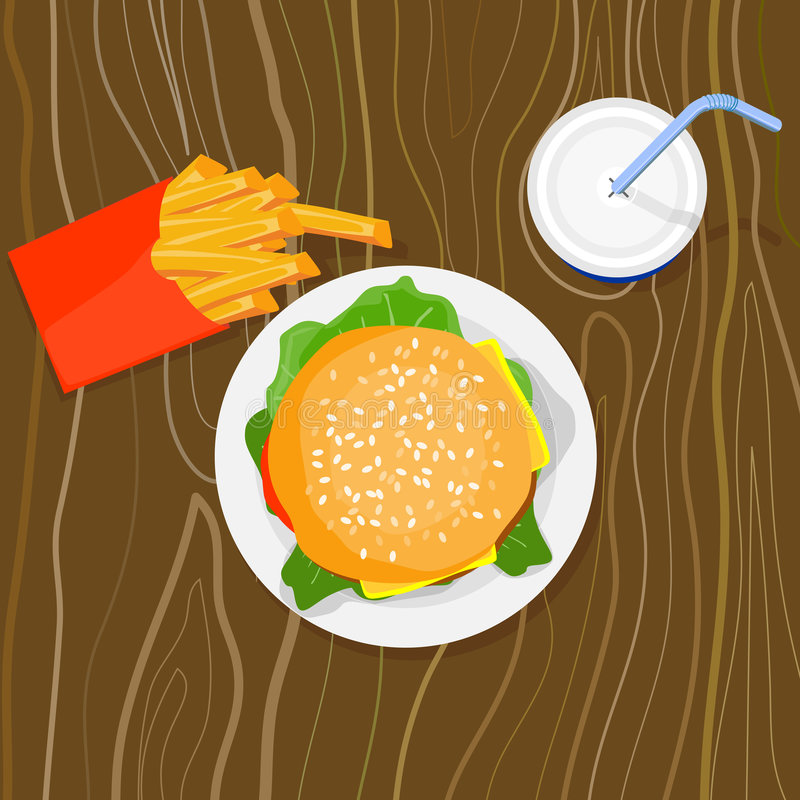 Hamburger, fritture e bevanda illustrazione di stock