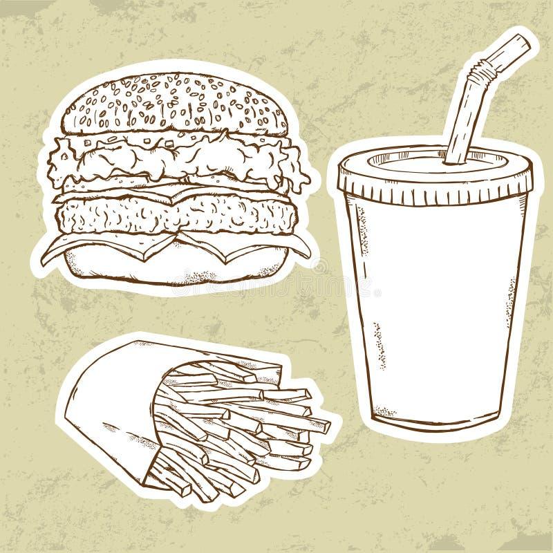 Hamburger, fritures et boisson illustration stock