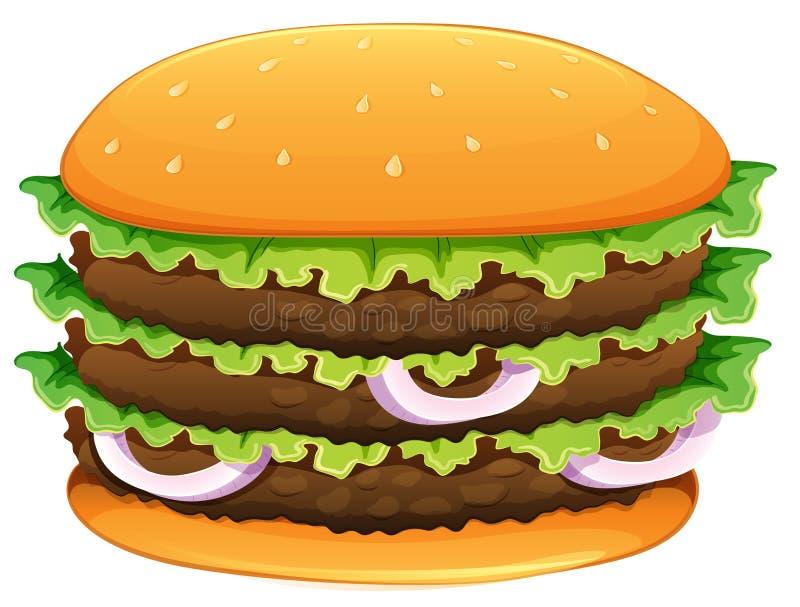 Hamburger grande com sementes de sésamo ilustração royalty free