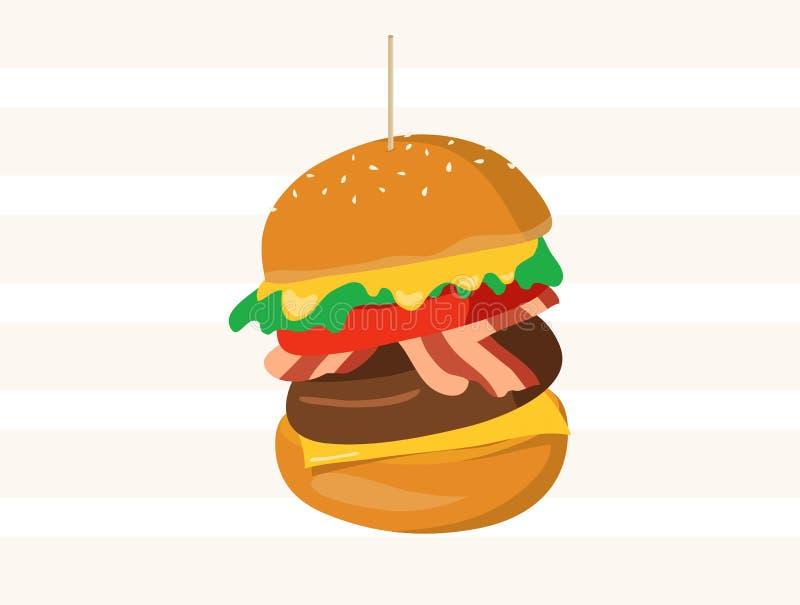 Hamburger grande completamente com queijo, carne, bacon e vegetais ilustração stock