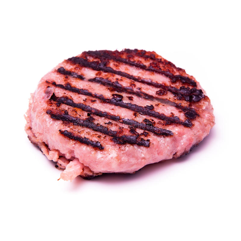 Hamburger grillé de viande de crocodile d'isolement sur un backgr blanc de studio images stock