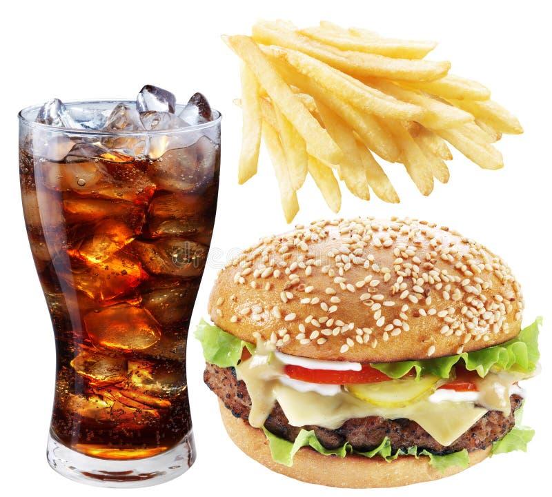 Hamburger, grula dłoniaki, kola napój Takeaway jedzenie fotografia royalty free