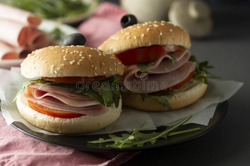 Hamburger with ham. Two burgers, hoemmade food. healthy sandwich with fresh vegetables royalty free stock photo