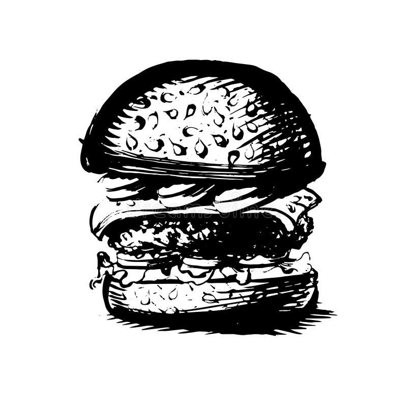 Hamburger, hamburger rysunkowa czarny i biały sylwetka, grafika, ilustracja wektor