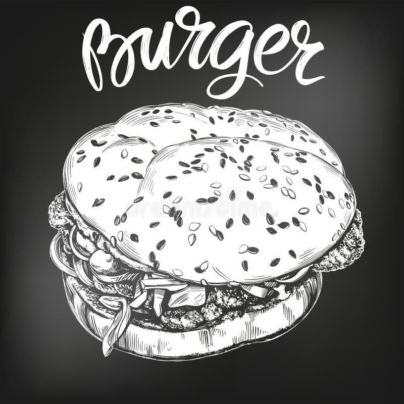 Hamburger, hamburgeru ręka rysujący wektorowy ilustracyjny nakreślenie kredowy menu styl retro royalty ilustracja