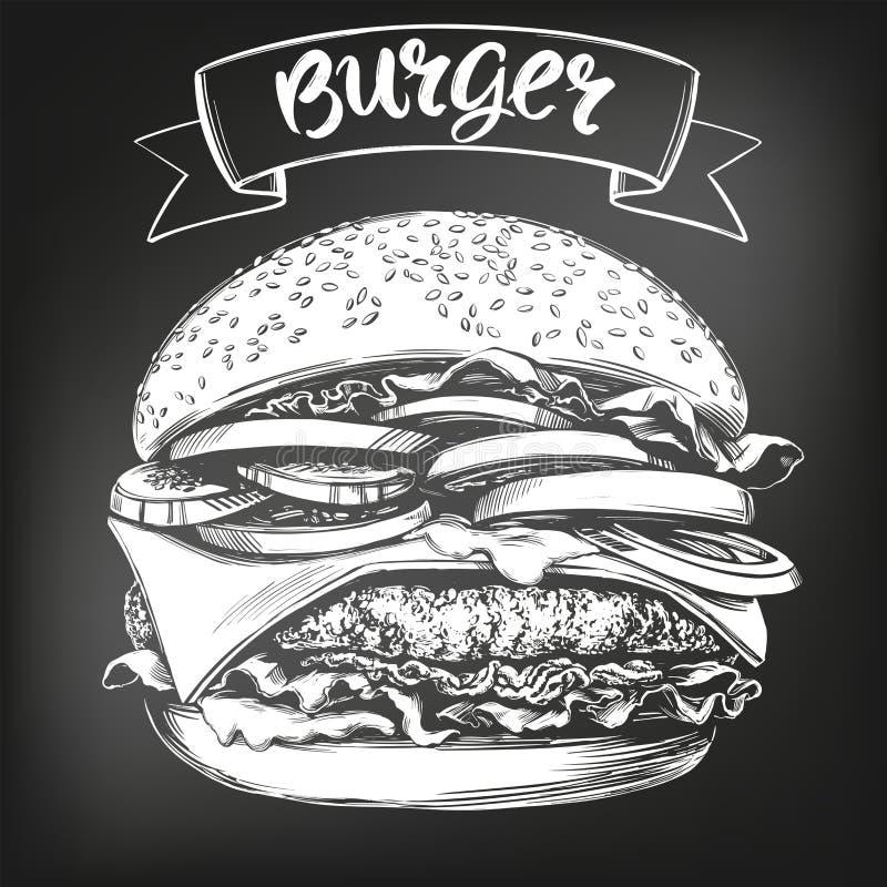 Hamburger, hamburgeru r?ka rysuj?cy wektorowy ilustracyjny nakre?lenie kredowy menu styl retro ilustracja wektor