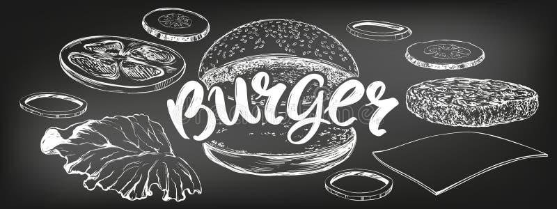 Hamburger, hamburgeru r?ka rysuj?cy wektorowy ilustracyjny nakre?lenie kredowy menu styl retro ilustracji