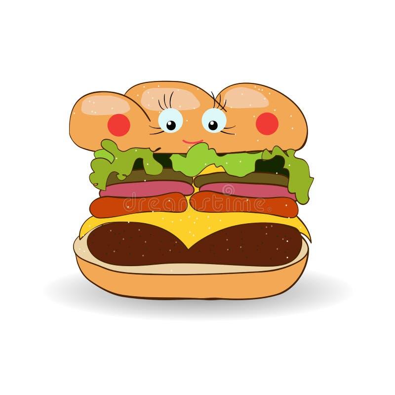 Hamburger, (hamburguer, cheeseburger) ilustração para o plac do fastfood ilustração do vetor