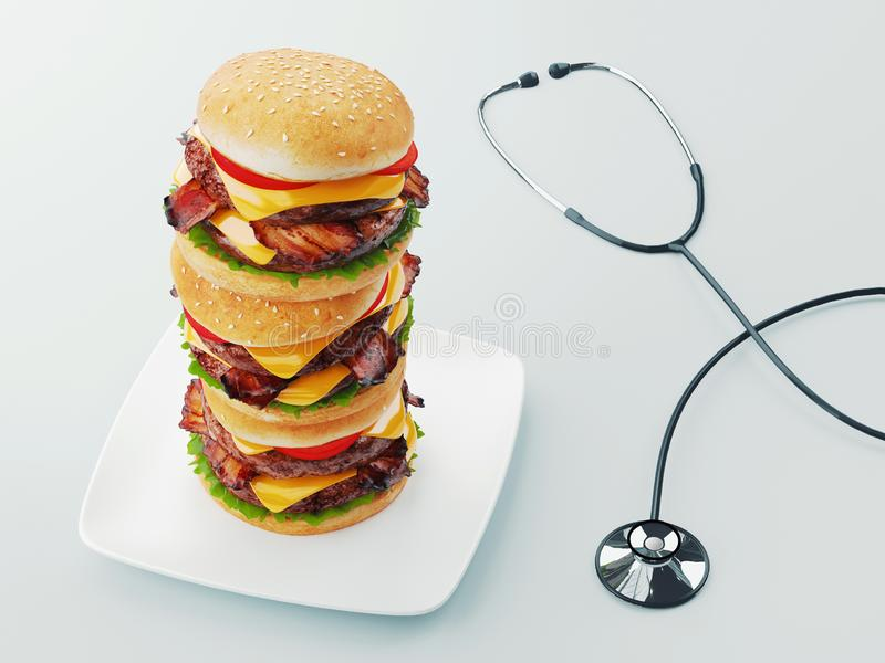 Hamburger Het concept van het snel voedseldieet, het Gedwongen te veel eten en op dieet zijn het 3d teruggeven stock illustratie