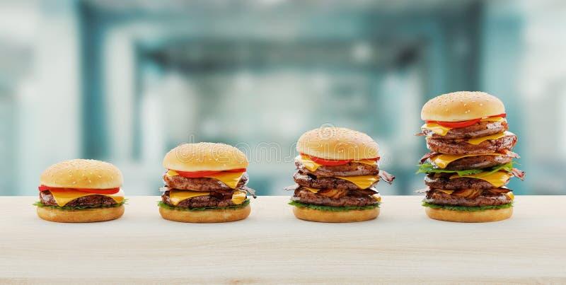 Hamburger Het concept van het snel voedseldieet, het Gedwongen te veel eten en op dieet zijn het 3d teruggeven vector illustratie