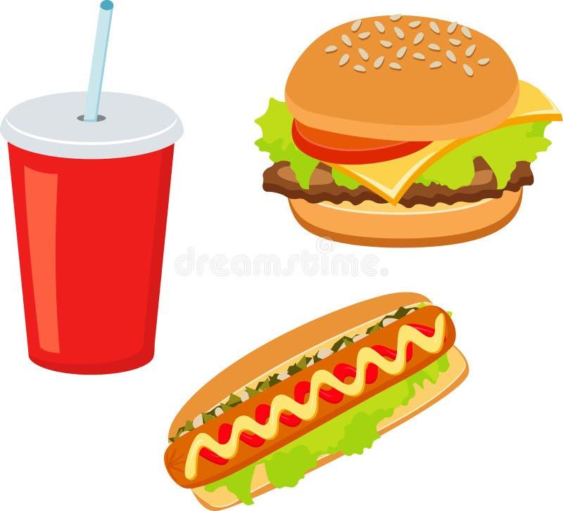 Hamburger, hot-dog, boisson de kola Plats à emporter Aliments de préparation rapide illustration de vecteur