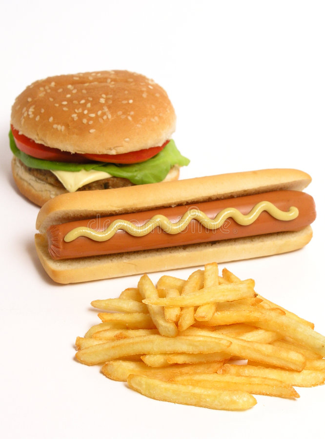 Hamburger, hot dog and french fries stock images
