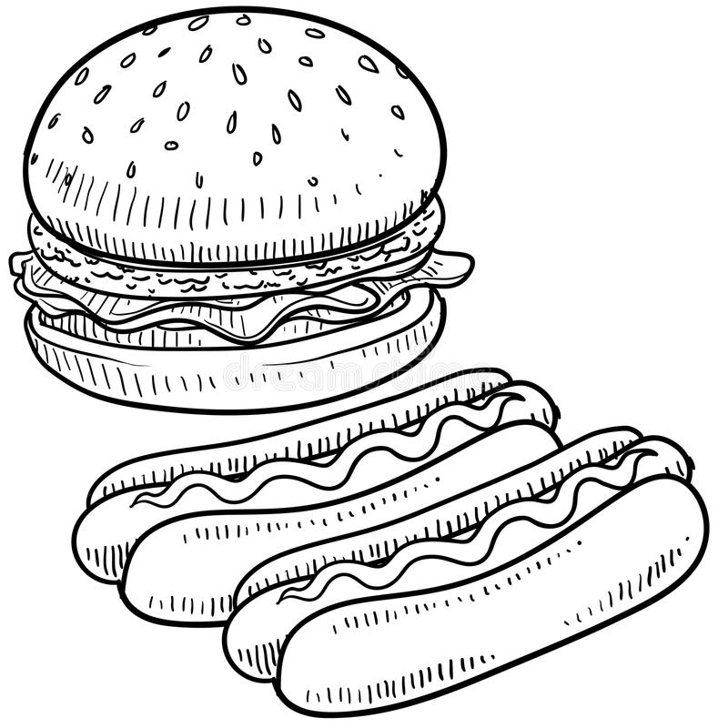 Hamburger and hot dog sketch. Doodle style hamburger and hot dog with bun and condiments sketch in vector format