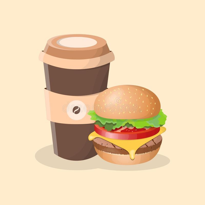 Hamburger i filiżanka kawy - śliczna kreskówka barwił obrazek royalty ilustracja
