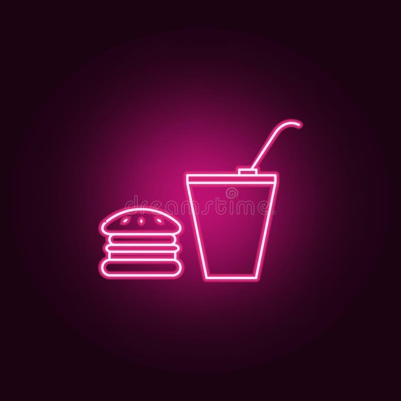 hamburger i pi? ikona Elementy kino w neonowych stylowych ikonach Prosta ikona dla stron internetowych, sie? projekt, mobilny app ilustracji