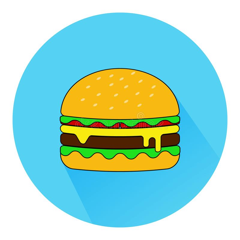 Hamburger icon with long shadow in the flat style. American burger fast food logo.vector eps10 royalty free illustration
