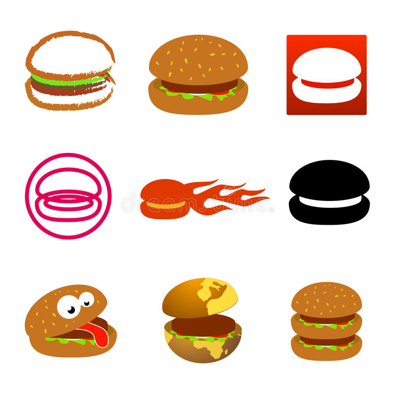 Hamburger icons and logos stock illustration