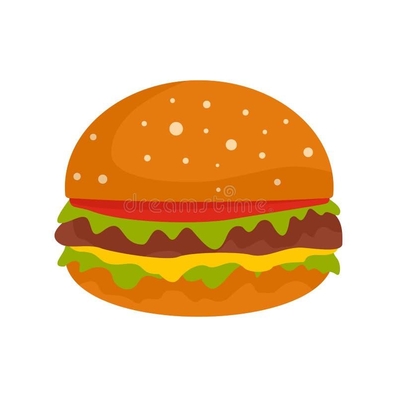Hamburger ikona, mieszkanie styl ilustracja wektor