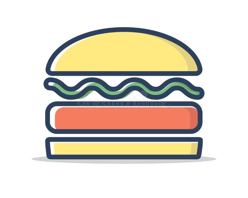 Hamburger ikony ilustraci linia wypełniający wektor ilustracja wektor