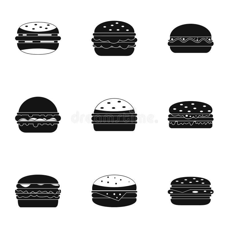 Hamburger ikony set, prosty styl royalty ilustracja